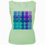 Blue & Purple Gingham Plaid Women s Tank Top (Green)