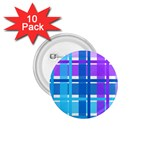 Blue & Purple Gingham Plaid 1.75  Button (10 pack)