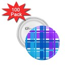 Blue & Purple Gingham Plaid 1.75  Button (100 pack)