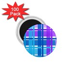 Blue & Purple Gingham Plaid 1.75  Button Magnet (100 pack)