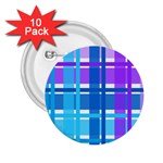Blue & Purple Gingham Plaid 2.25  Button (10 pack)