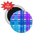 Blue & Purple Gingham Plaid 2.25  Button Magnet (10 pack)