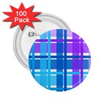 Blue & Purple Gingham Plaid 2.25  Button (100 pack)