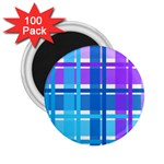 Blue & Purple Gingham Plaid 2.25  Button Magnet (100 pack)