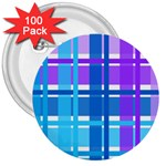 Blue & Purple Gingham Plaid 3  Button (100 pack)
