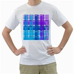 Blue & Purple Gingham Plaid Men s Two-sided T-shirt (White)