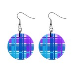Blue & Purple Gingham Plaid Mini Button Earrings