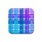 Blue & Purple Gingham Plaid Drink Coaster (Square)