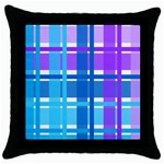 Blue & Purple Gingham Plaid Black Throw Pillow Case