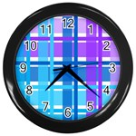 Blue & Purple Gingham Plaid Wall Clock (Black)
