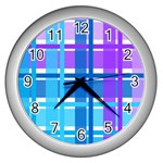 Blue & Purple Gingham Plaid Wall Clock (Silver)