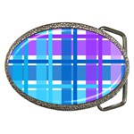 Blue & Purple Gingham Plaid Belt Buckle (Oval)