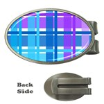 Blue & Purple Gingham Plaid Money Clip (Oval)