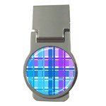 Blue & Purple Gingham Plaid Money Clip (Round)