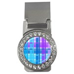 Blue & Purple Gingham Plaid Money Clip (CZ)