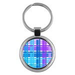Blue & Purple Gingham Plaid Key Chain (Round)