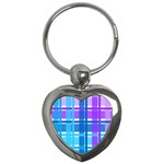 Blue & Purple Gingham Plaid Key Chain (Heart)