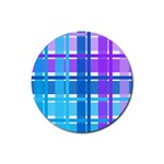 Blue & Purple Gingham Plaid Drink Coaster (Round)