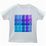 Blue & Purple Gingham Plaid Kids T-shirt (White)