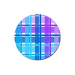 Blue & Purple Gingham Plaid Magnet 3  (Round)