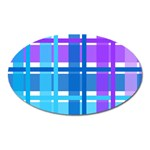 Blue & Purple Gingham Plaid Magnet (Oval)