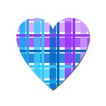 Blue & Purple Gingham Plaid Magnet (Heart)
