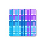 Blue & Purple Gingham Plaid Magnet (Square)