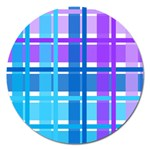 Blue & Purple Gingham Plaid Magnet 5  (Round)