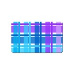 Blue & Purple Gingham Plaid Magnet (Name Card)