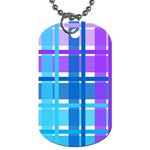 Blue & Purple Gingham Plaid Dog Tag (One Sided)