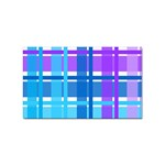 Blue & Purple Gingham Plaid Sticker 100 Pack (Rectangle)