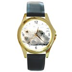 Baby Polar Bear Round Gold Metal Watch