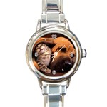 Best Friends Cat and Dog Round Italian Charm Watch