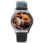 Best Friends Cat and Dog Round Metal Watch