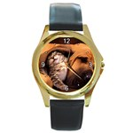 Best Friends Cat and Dog Round Gold Metal Watch