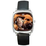 Best Friends Cat and Dog Square Metal Watch
