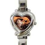 Best Friends Cat and Dog Heart Italian Charm Watch