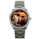 Best Friends Cat and Dog Sport Metal Watch