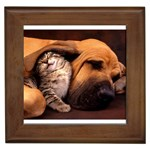 Best Friends Cat and Dog Framed Tile