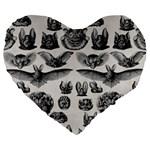Haeckel Chiroptera Large 19  Premium Flano Heart Shape Cushion