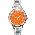 Orange Abstract 45s Round Italian Charm Watch