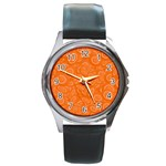 Orange Abstract 45s Round Leather Watch (Silver Rim)