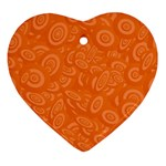 Orange Abstract 45s Heart Ornament