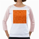Orange Abstract 45s Women s Long Cap Sleeve T-Shirt (White)