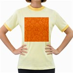 Orange Abstract 45s Women s Ringer T-shirt (Colored)