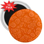 Orange Abstract 45s 3  Button Magnet (10 pack)