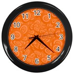 Orange Abstract 45s Wall Clock (Black)