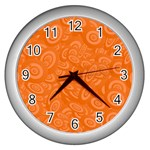 Orange Abstract 45s Wall Clock (Silver)