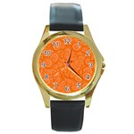 Orange Abstract 45s Round Leather Watch (Gold Rim)