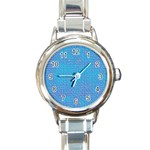 Textured Blue & Purple Abstract Round Italian Charm Watch
